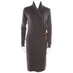 Ralph Lauren Grey Shawl Collar Detail Faux Wrap Sweater Dress M