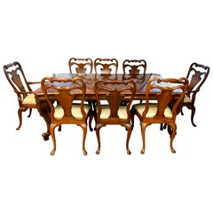 Ralph Lauren Henredon Large Flame Mahogany Dining Set Table and Eight Chairs