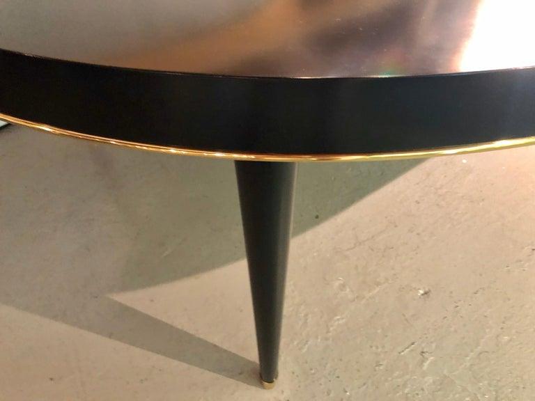 Metal Ralph Lauren Hollywood Regency Style Ebony Dining Table,