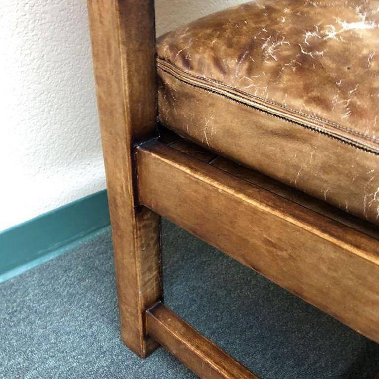 Indonesian Ralph Lauren Home Distressed Leather Arm Chairs Pair For