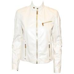 Ralph Lauren Ivory Iridescent Leather Biker Style Jacket