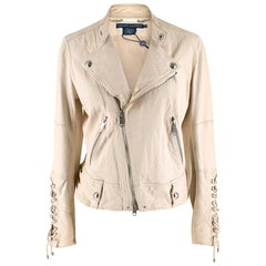Ralph Lauren Ivory Leather Jacket SIZE 12