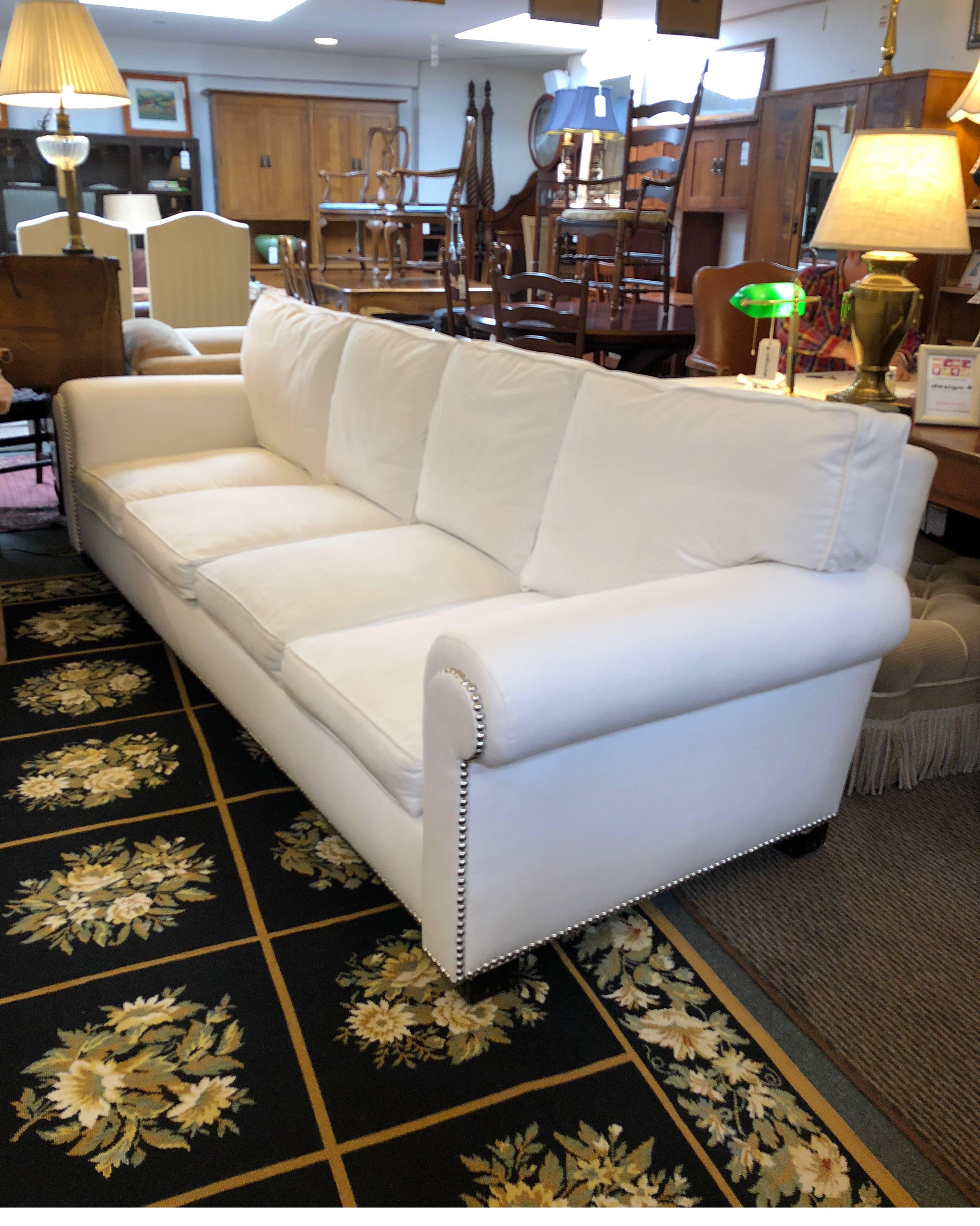 A Ralph Lauren Sofa. The Jamaica Salon Sofa Has Exaggerated Rolled Arms  Which Are Highlighted