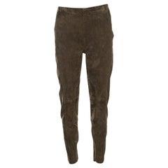 Ralph Lauren Khaki Stretch Suede Skinny Jamie Pants L