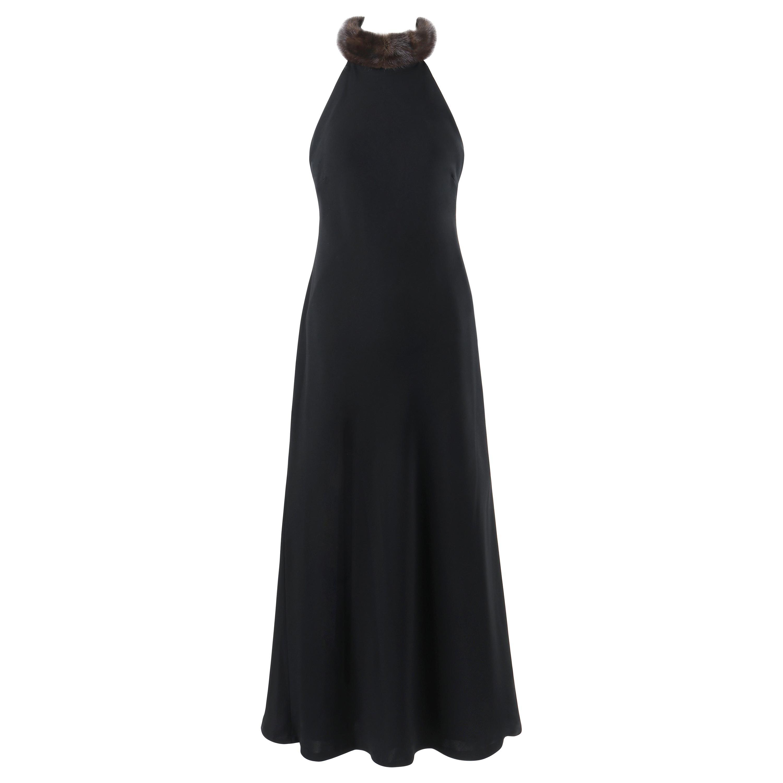RALPH LAUREN Lauren Collection Black Mink Fur Collar Halter Evening Dress Gown