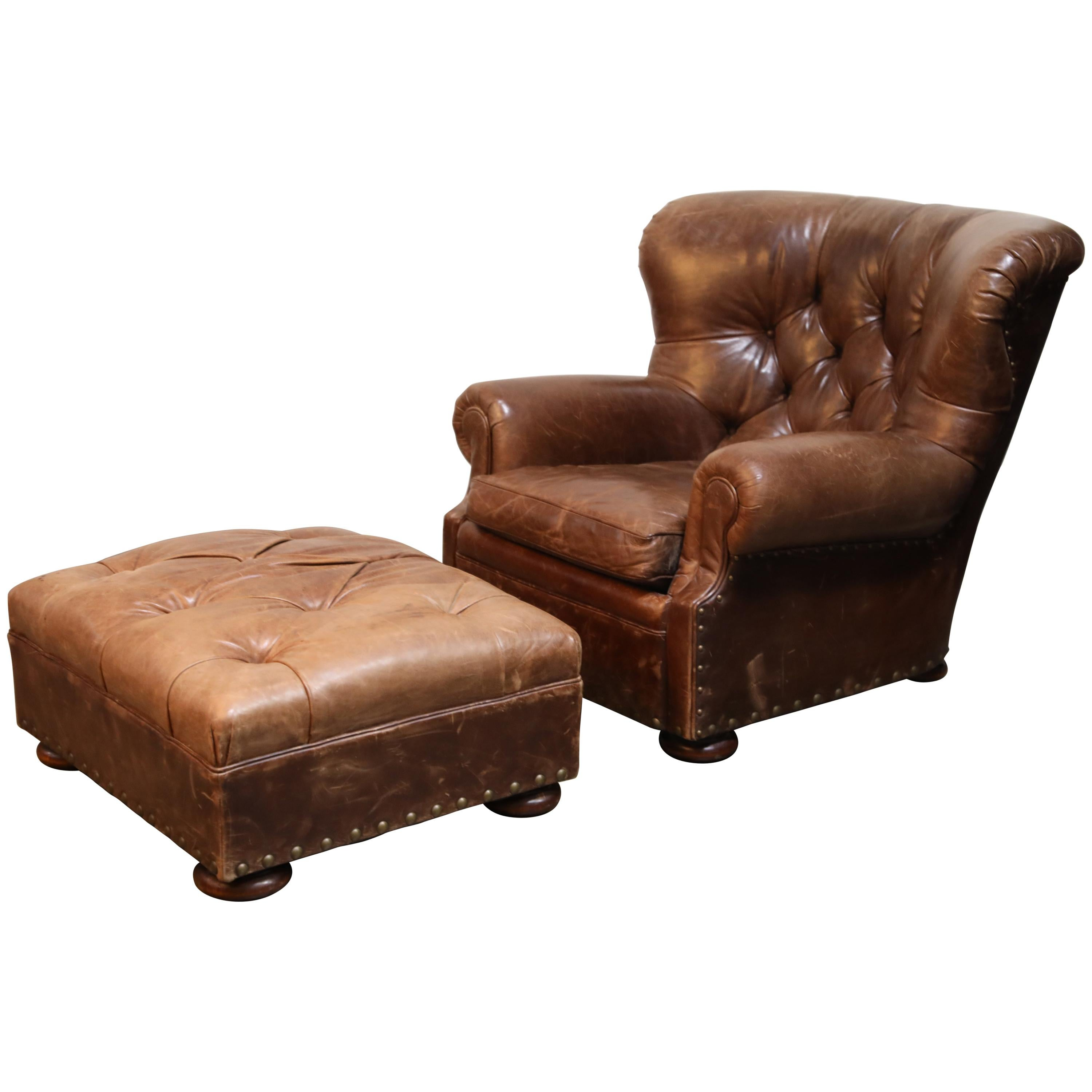 Superb Ralph Lauren Leather And Mahogany Writers Winged Club Chair Ottoman Signed Ncnpc Chair Design For Home Ncnpcorg