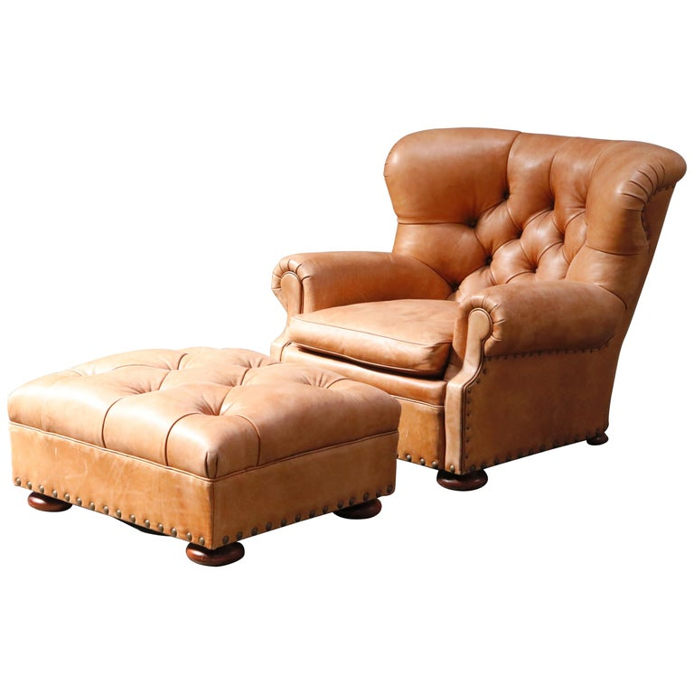 "Ralph Lauren Leather and Mahogany ""Writer's"" Winged Club Chair & Ottoman, Signed For Sale"