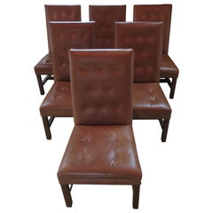 Ralph Lauren Leather Dining Side Chairs, Set of 6