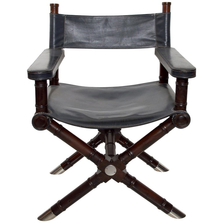 Ralph Lauren Leather Hollywood Director's Chair in Classic Royal Navy Blue For Sale