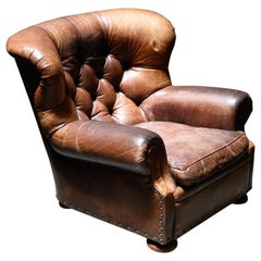 Ralph Lauren Leather Wingback Writer's Club Chair, Signed