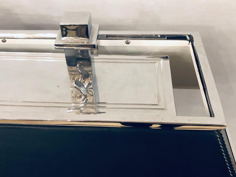 Ralph Lauren Leather Wrapped Chrome Framed Table Or Banker