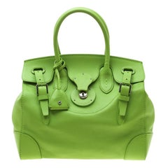 Ralph Lauren Light Green Soft Leather Ricky 33 Tote