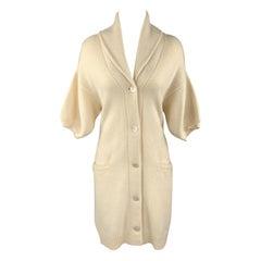 RALPH LAUREN M Cream Cashmere Blend Shawl Collar Sort Sleeve Long Cardigan