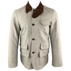 RALPH LAUREN M Light Grey Heather Brown Corduroy Collar Hunter Jacket