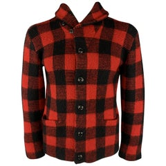 RALPH LAUREN M Red & Black Buffalo Plaid Wool Shawl Collar Jacket