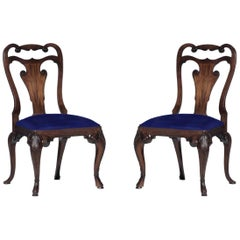 Ralph Lauren Mahogany Dining Chair, Blue Velvet, Labelled