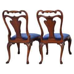 Ralph Lauren Mahogany Dining Chair, Blue Velvet, Labelled