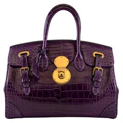 RALPH LAUREN Matte Deep Purple Alligator Crocodile Ricky Bag