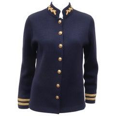 Ralph Lauren Military Navy Blue & Gold Wool Sweater Jacket, 1990's