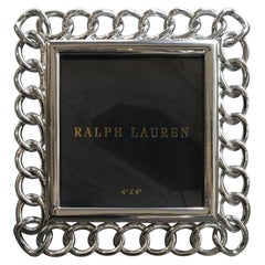 Ralph Lauren Modern Square Chain Chrome Accessories Desk Picture Frame in Stock