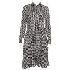 Ralph Lauren Monochrome Houndstooth Patterned Silk Austin Shirt Dress S