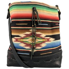 RALPH LAUREN Multi-Color Navajo Print Fabric Leather Shoulder Bag