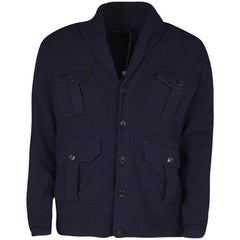Ralph Lauren Navy Blue Cashmere Leather Elbow Patch Detail Cardigan L