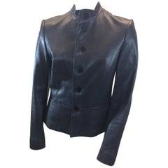 Ralph Lauren Navy Blue Leather Jacket