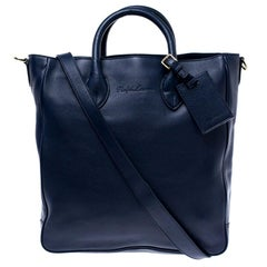 Ralph Lauren Navy Blue Leather Shopper Tote