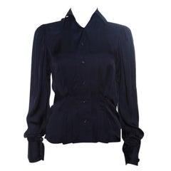 Ralph Lauren Navy Blue Silk Satin Pleat Detail Button Front Shirt S