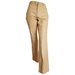 """RALPH LAUREN """"New"""" Beige Light Yellow Leather Pants - Unworn"""