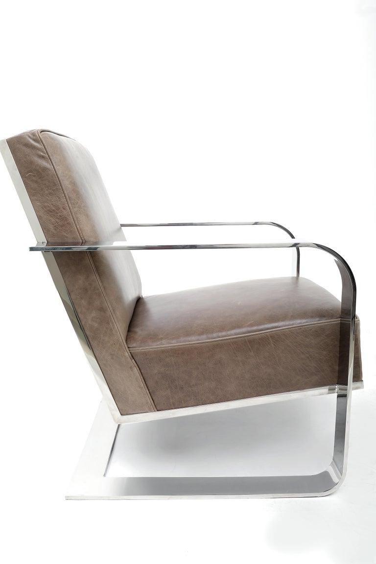 Modern Ralph Lauren New Bohemian Metal Club Chair in Vintage Greige Leather For Sale