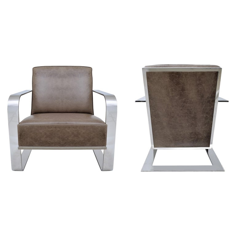 Ralph Lauren New Bohemian Metal Club Chair in Vintage Greige Leather For Sale
