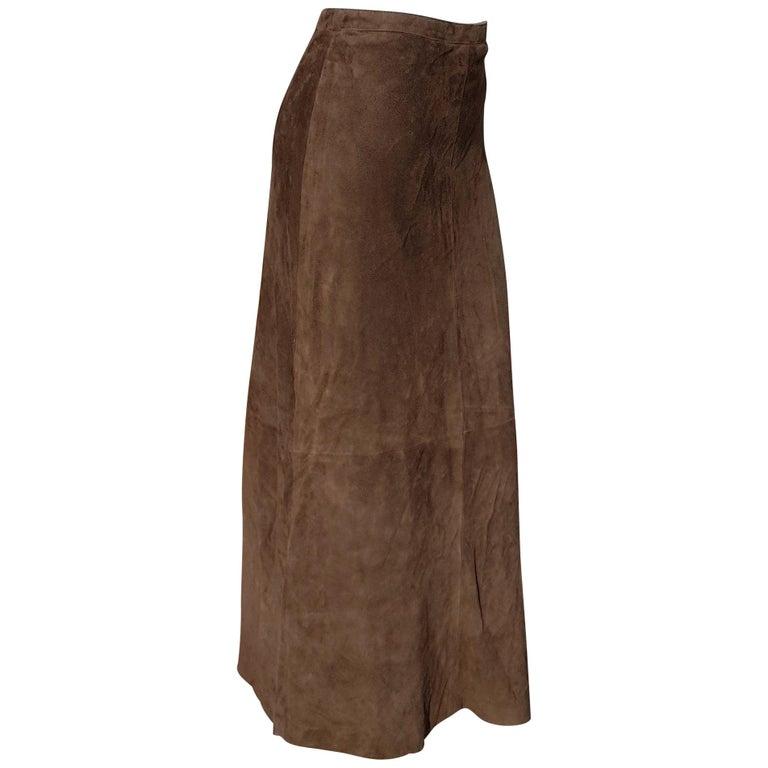 """RALPH LAUREN """" New"""" Brown Suede Silk Lined 1 button zip Long Skirt - Unworn For Sale"""