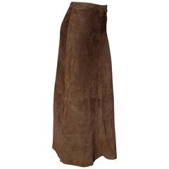 """RALPH LAUREN """" New"""" Brown Suede Silk Lined 1 button zip Long Skirt - Unworn"""