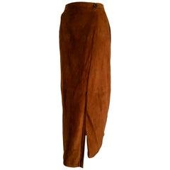 """RALPH LAUREN """"New"""" Brown Suede Silk Lined Long Skirt - Unworn"""