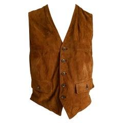 """RALPH LAUREN """"New"""" Brown Suede Vest Gilet - Unworn"""
