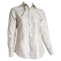 """Ralph LAUREN """"New"""" Pearl Gray Silk Shirt - Unworn"""