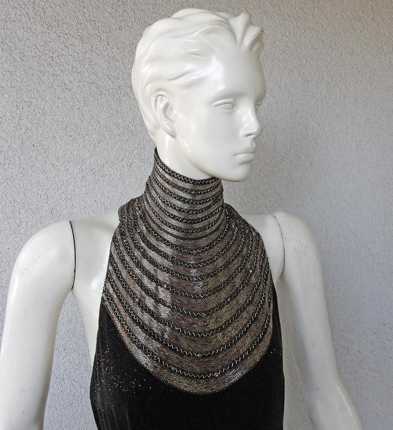 Black Ralph Lauren NWT Rare Runway Art Deco Beaded Dress Gown For Sale