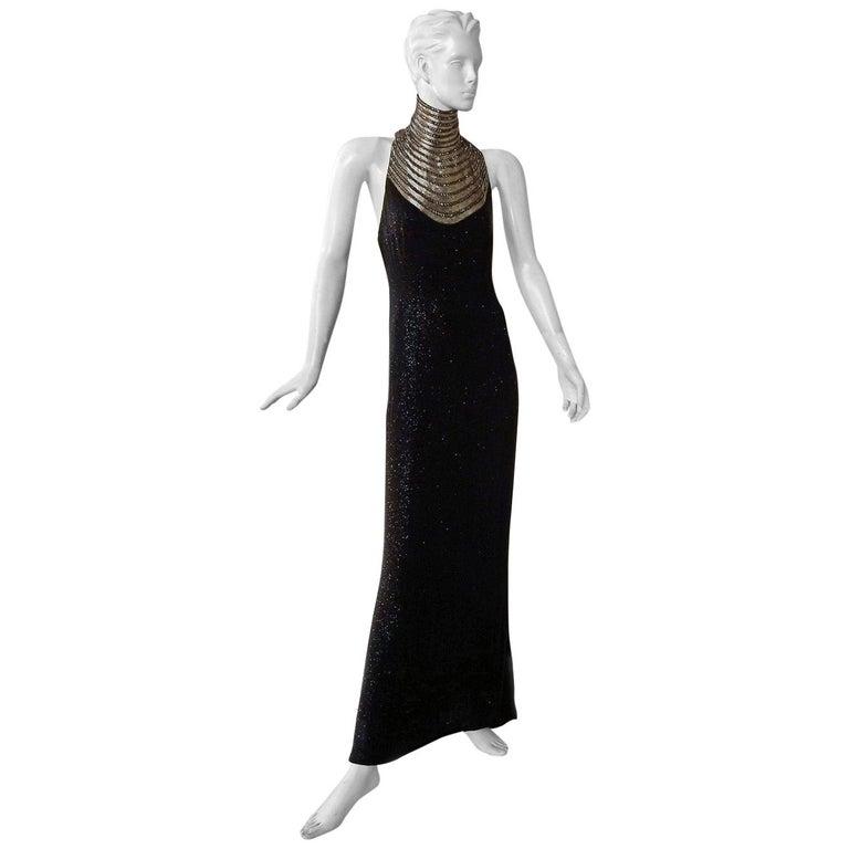 Ralph Lauren NWT Rare Runway Art Deco Beaded Dress Gown For Sale