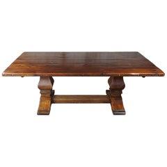 Ralph Lauren Old World Distressed Pine Harvest Farmhouse Trestle Dining Table