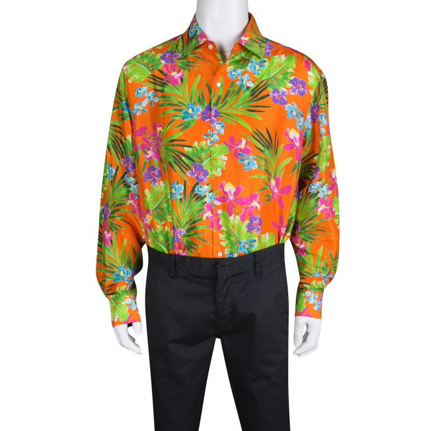 b01ec555 Ralph Lauren Orange Tropical Floral Print Button Front Silk Shirt XXL For  Sale at 1stdibs