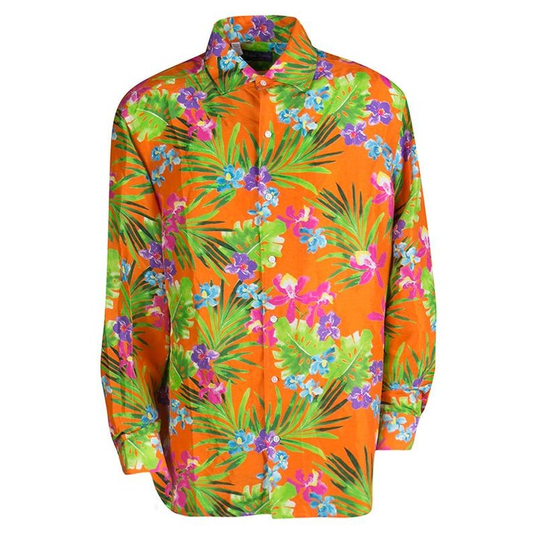 932d665c Ralph Lauren Orange Tropical Floral Print Button Front Silk Shirt XXL For  Sale