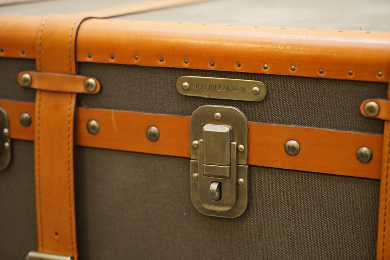 Ralph Lauren Oxford Leather Bound Nickle Luggage Trunks Side Tables