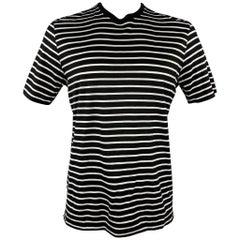 RALPH LAUREN Purple Collection Size L Black & White Stripe Cotton T-Shirt