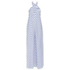 RALPH LAUREN PURPLE LABEL 100% cotton blue white stripe halter jumpsuit US2
