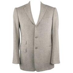 RALPH LAUREN Purple Label 40 Light Gray Heather Cashmere Sport Coat Jacket
