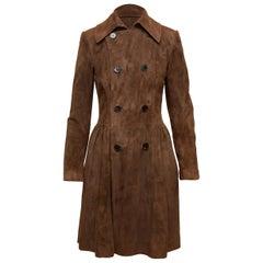 Ralph Lauren Purple Label Brown Suede Princess Coat