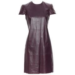 RALPH LAUREN PURPLE LABEL dark burgundy lamb leather cap sleeve dress US2 XS