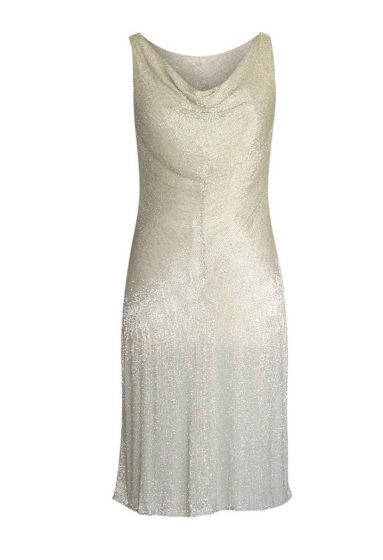 Ralph Lauren Purple Label Exquisite Beaded Silvery Gold Dress 8 For ...